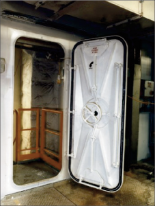 Lessons Learned There is a need to improve safety awareness onboard; hazards can be encountered in all onboard activities including the routine ones. & Unsecured Watertight Door |